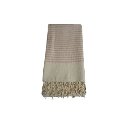 Fouta Nid d'abeille Rayures Rose et Blanc